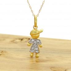 11b04e6cc49ad Pingente Menino com 6 Diamantes, em Ouro Amarelo 18 Kilates