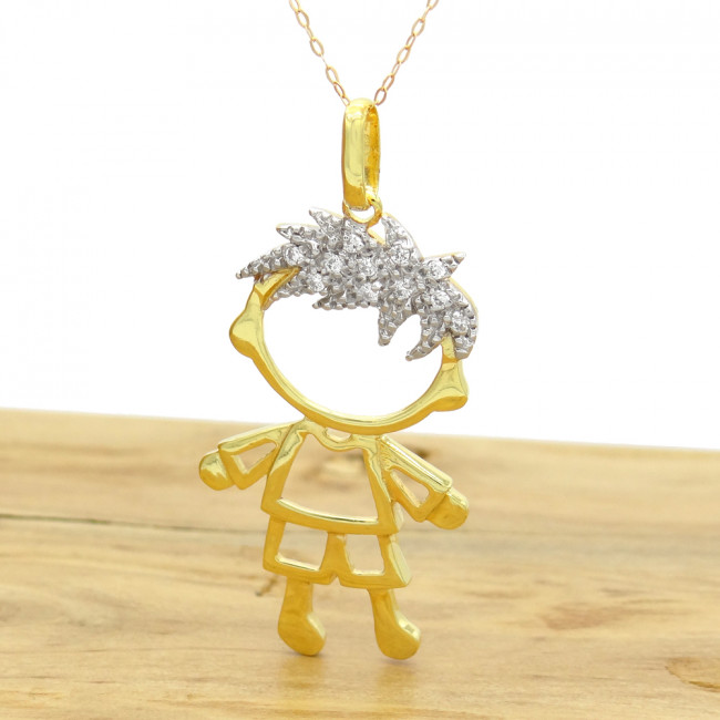 c67224b568 Pingente Menino com 11 Diamantes