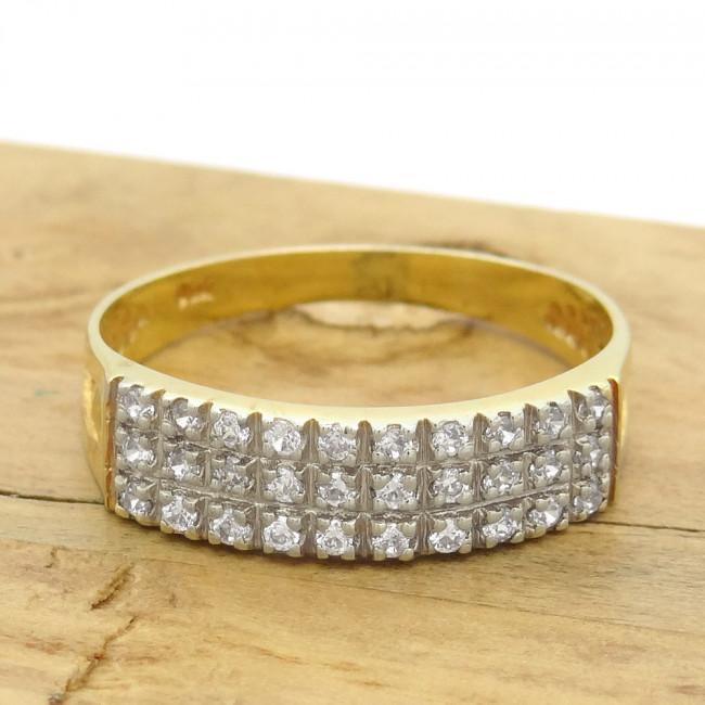 eacb9be4d3ee0 Meia Aliança Tripla com 30 Diamantes